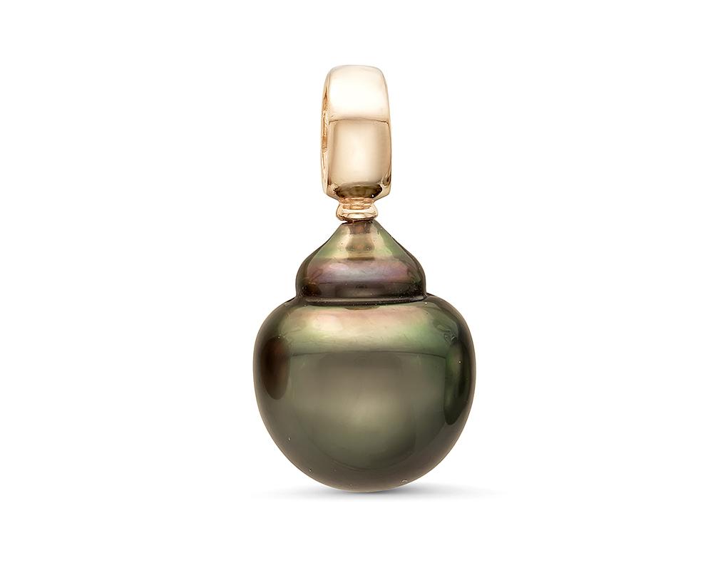 Кулон из серебра с черной морской Таитянской жемчужиной 12-12,5 мм