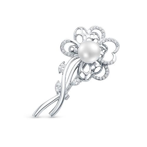 """Брошь """"Цветок"""" из серебра с белой речной жемчужиной. Жемчужина - 8,5-9 мм"""