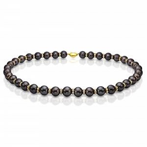 Ожерелье из черного пресноводного круглого жемчуга со стразами