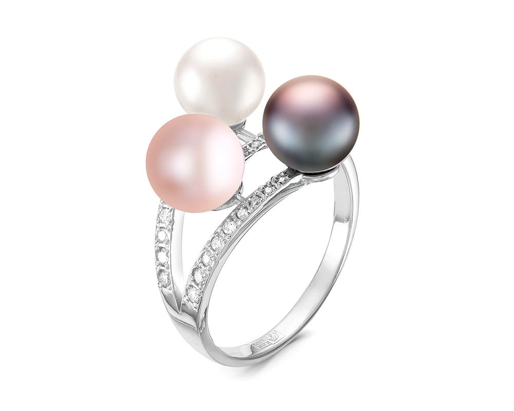 """Кольцо из серебра с речными жемчужинами """"микс"""" 7-7,5 мм"""