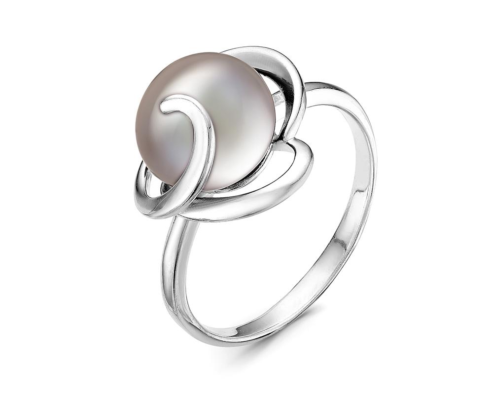 Кольцо из серебра с серебристой круглой речной жемчужиной 8,5-9 мм