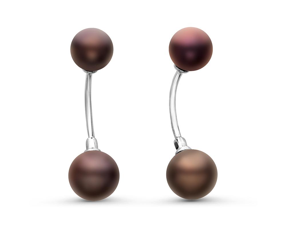 """Пусеты """"Диор"""" из серебра с черными речными жемчужинами 7-8,5 мм"""