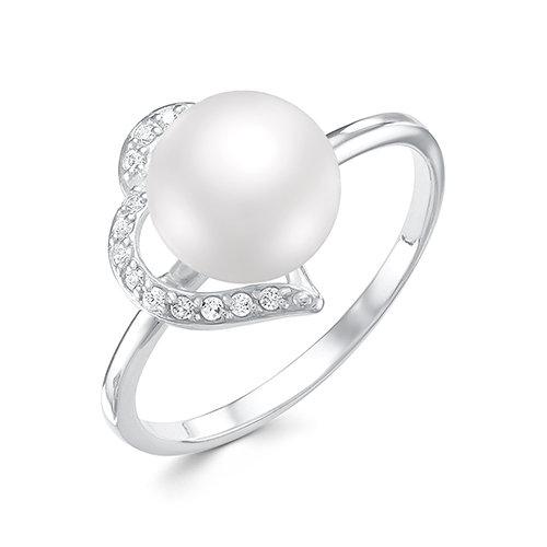 Кольцо из белого золота с белой речной жемчужиной 7,5-8 мм
