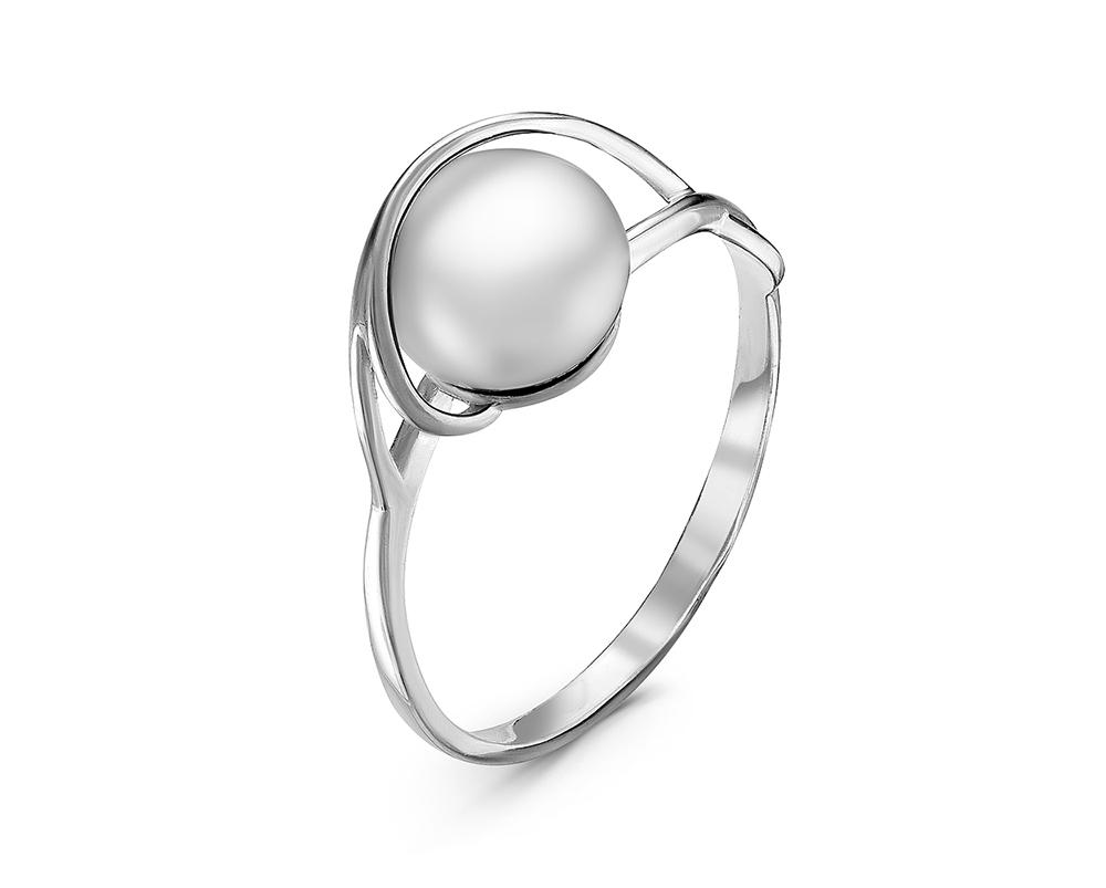 Кольцо из серебра с белой речной жемчужиной 7,5-8 мм