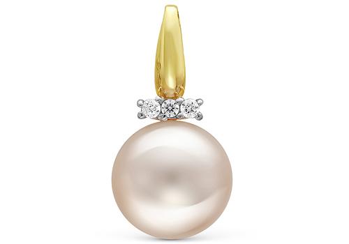 Кулон из серебра с белой круглой речной жемчужиной 7,5-8 мм