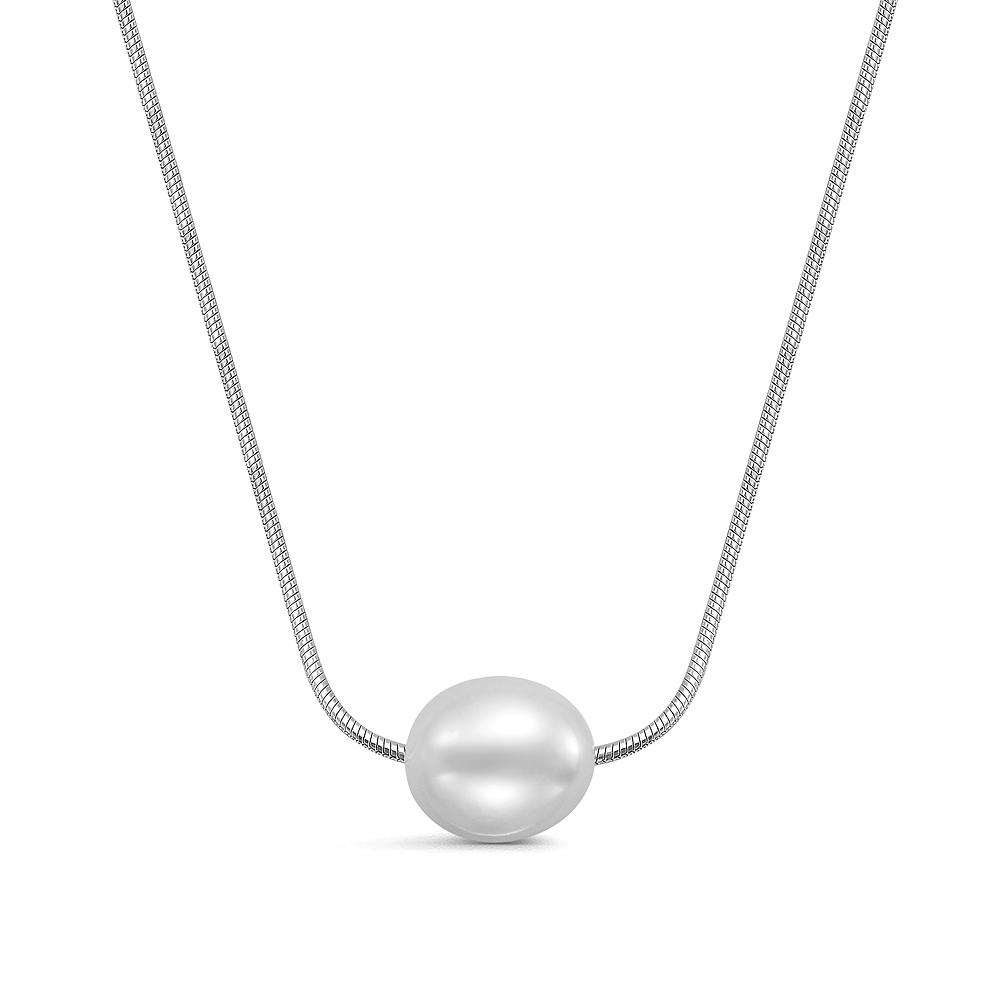 Цепочка из серебра с белой рисообразной речной жемчужиной 10-11 мм