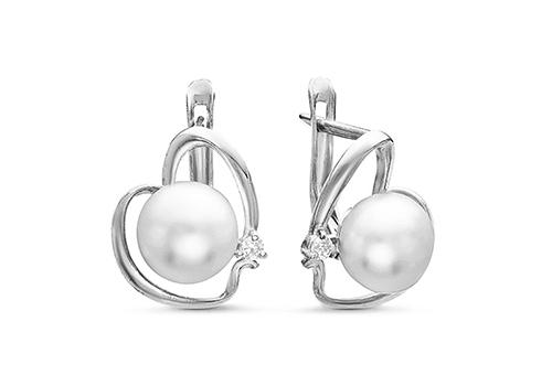 """Серьги """"Сердечки"""" из серебра c белыми речными жемчужинами 7,5-8 мм"""