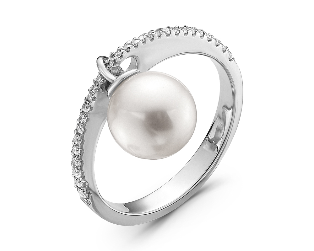 Кольцо из белого золота с белой морской жемчужиной Акойя 8-8,5 мм