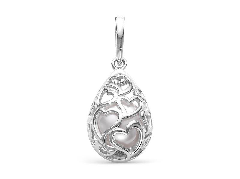 """Кулон """"Сердечки"""" из серебра с белой речной жемчужиной 8-8,5 мм"""