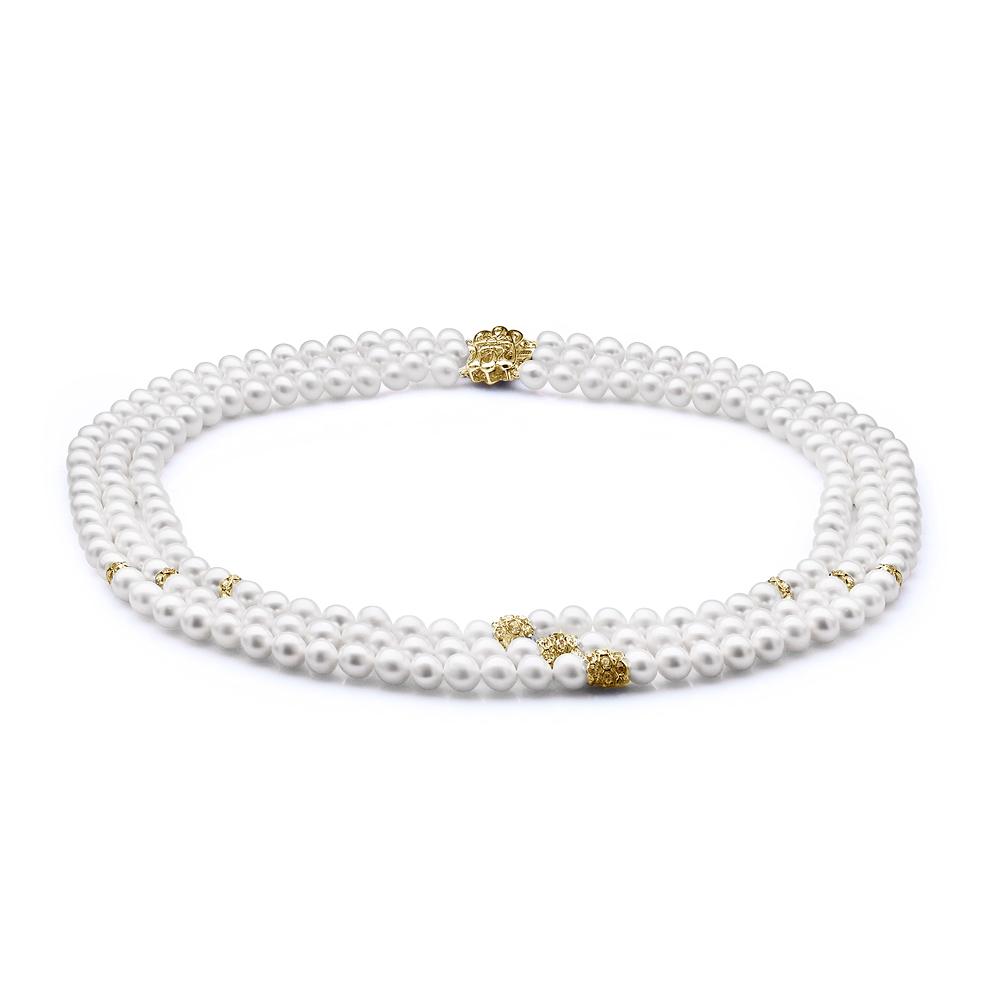 Ожерелье 3-рядное из белого круглого жемчуга со стразами. Жемчужины 7-7,5 мм