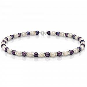 """Ожерелье """"микс"""" из круглого жемчуга размером 9-10 мм со стразами"""