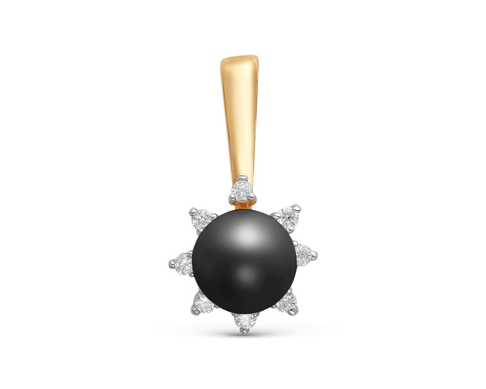 Кулон из серебра с черной круглой речной жемчужиной 7-7,5 мм