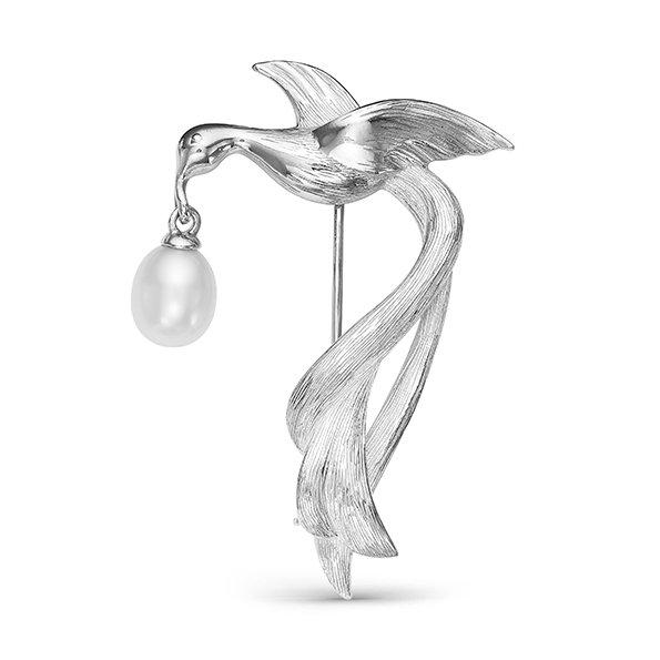 Брошь из серебра с каплевидной жемчужиной. Жемчужина 7,5-8 мм
