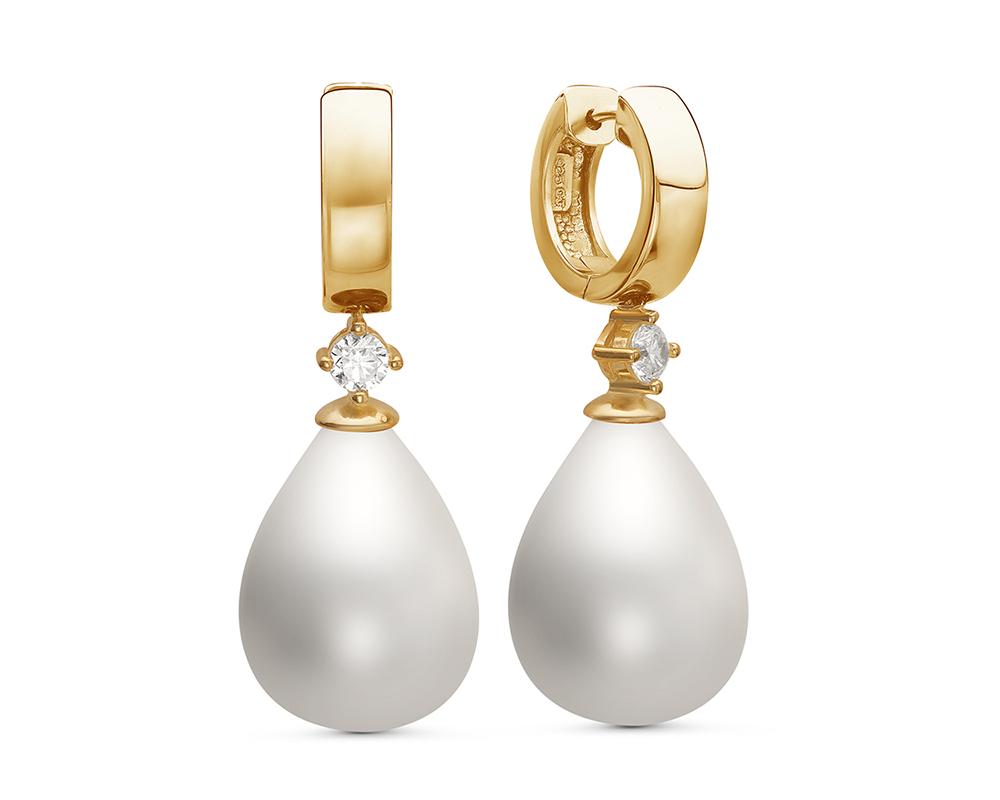 """Серьги из серебра с белыми жемчужинами """"Майорика"""" 12,5-15,5 мм"""