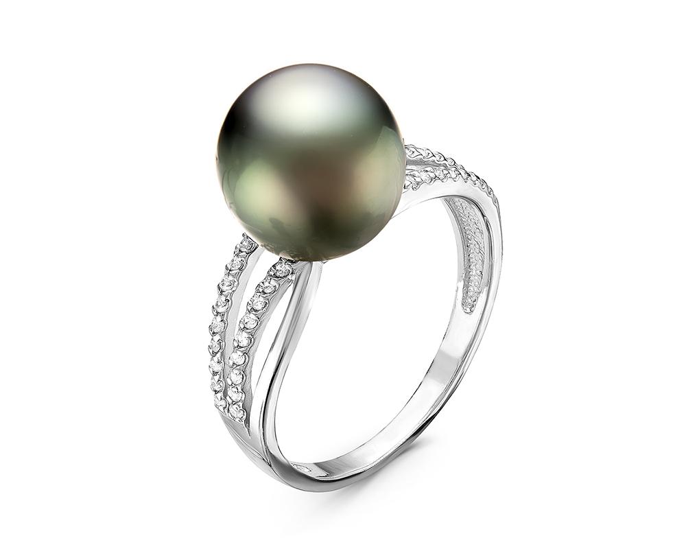 Кольцо из серебра с черной морской Таитянской жемчужиной 10-12,5 мм