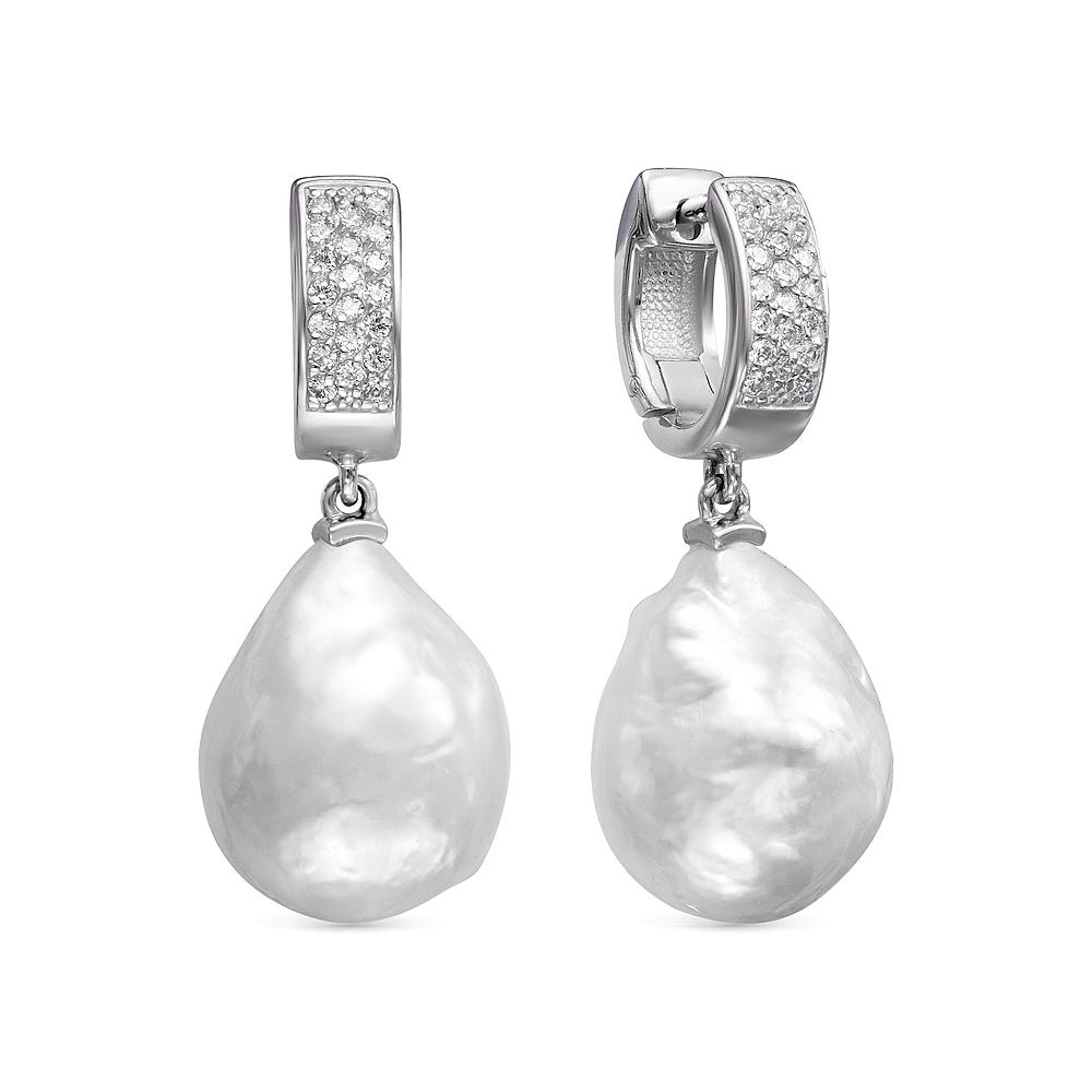 """Серьги из серебра c белыми речными жемчужинами """"Барокко"""" 14-16 мм"""