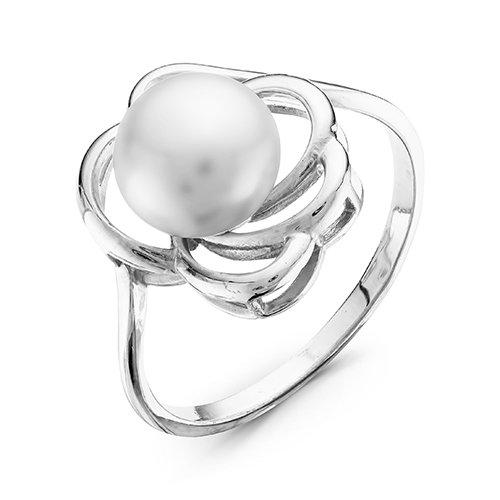 Кольцо из белого золота с белой речной жемчужиной 7-7,5 мм