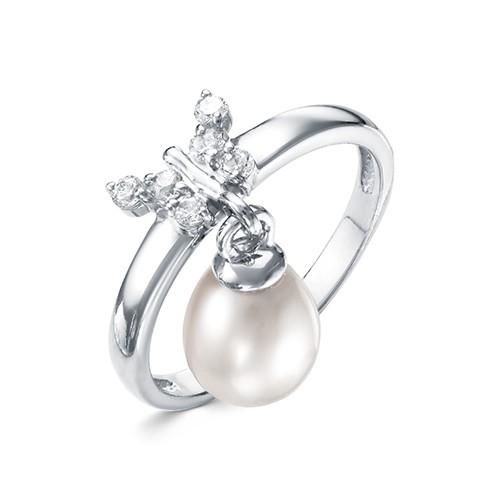 Кольцо из серебра с белой Австралийской жемчужиной 9-9,5 мм