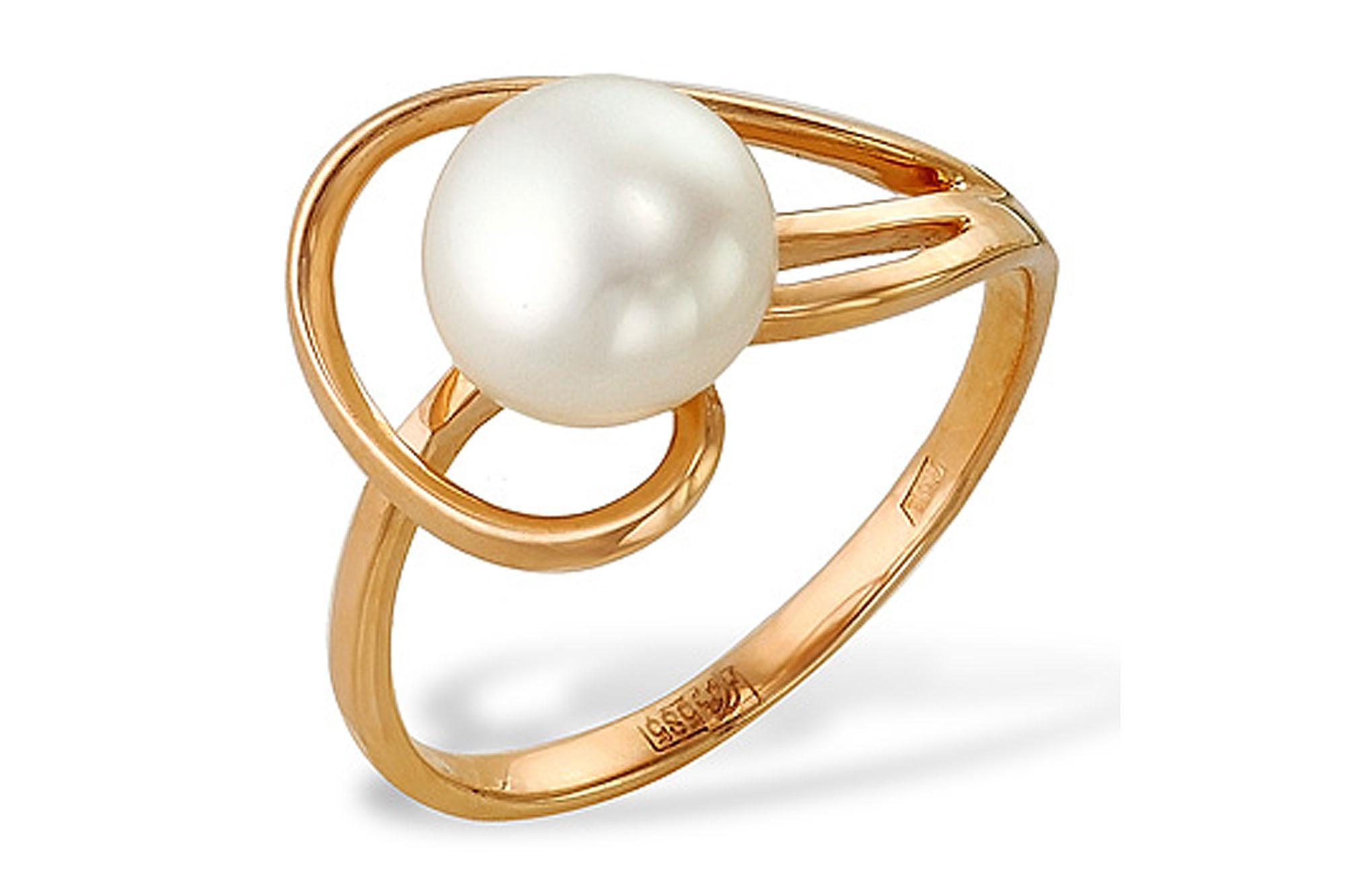 Кольцо из красного золота с белой речной жемчужиной 7,5-8 мм