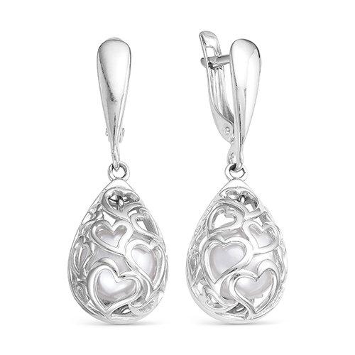 """Серьги """"Сердечки"""" из серебра с белыми речными жемчужинами 8-8,5 мм"""