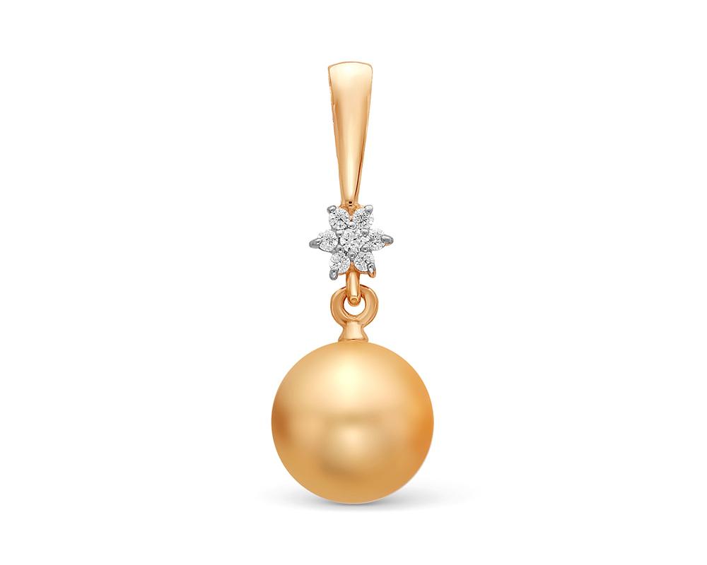 Подвеска из золота с пресноводной золотистой жемчужиной 8,5-9 мм