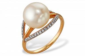 Кольцо из красного золота 585 пробы с белой жемчужиной 9-9,5 мм