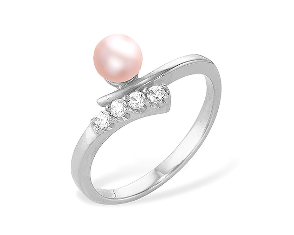 Кольцо из серебра с розовой речной жемчужиной 6 мм