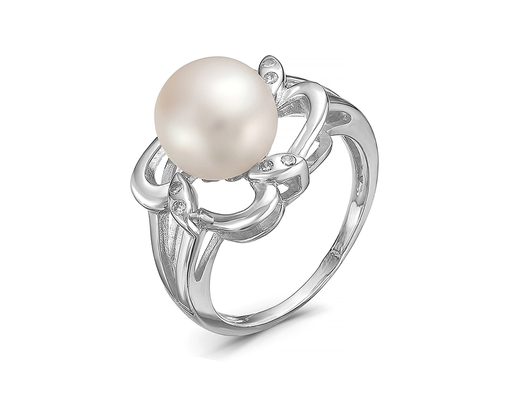 Кольцо из серебра с белой речной жемчужиной 9-9,5 мм