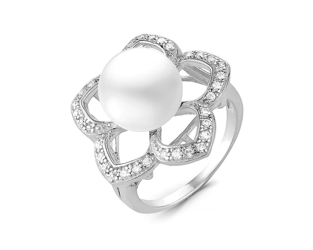 Кольцо из серебра с белой речной жемчужиной 10-11 мм