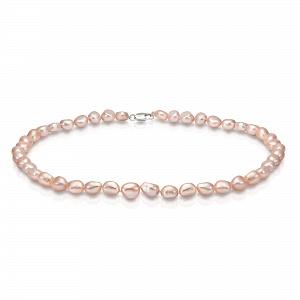 Ожерелье из розового барочного речного жемчуга. Жемчужины 8-8,5 мм