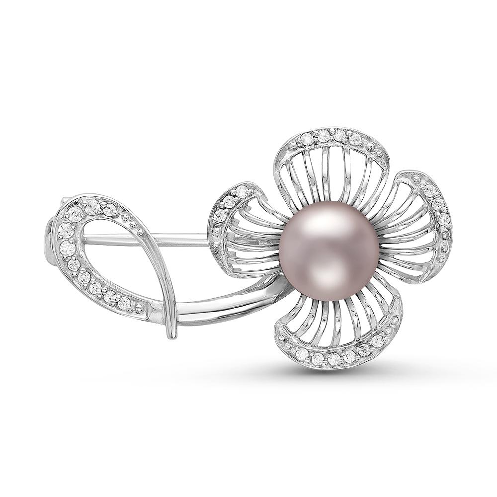Брошь из серебра с розовой речной жемчужиной 7,5-8 мм