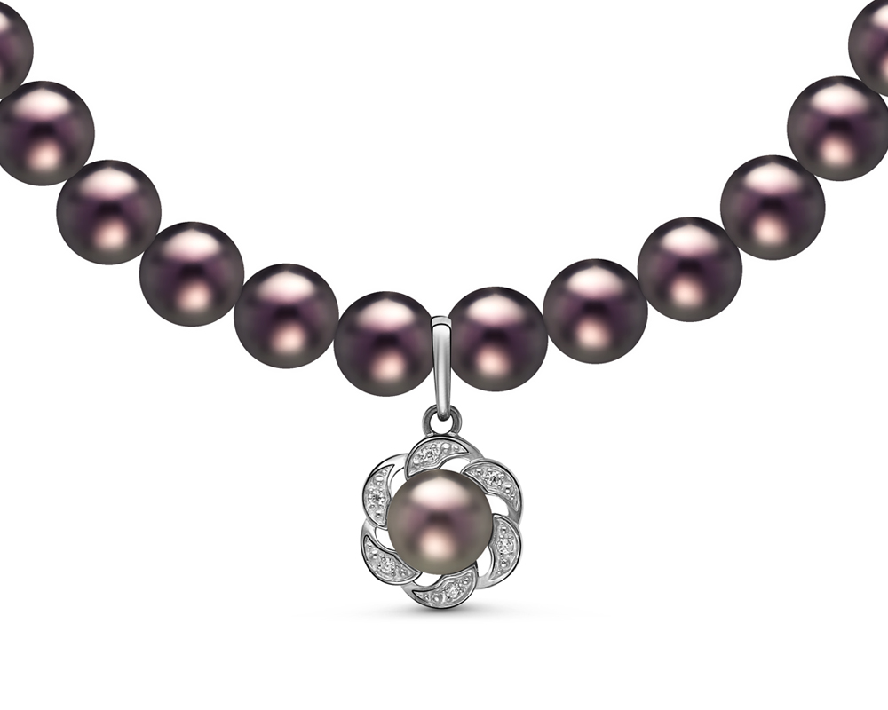 Ожерелье из черного круглого жемчуга с кулоном из серебра. Жемчужины 6,5-7 мм