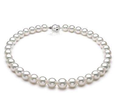 Ожерелье из белого круглого морского Австралийского жемчуга 10,6-14,3 мм