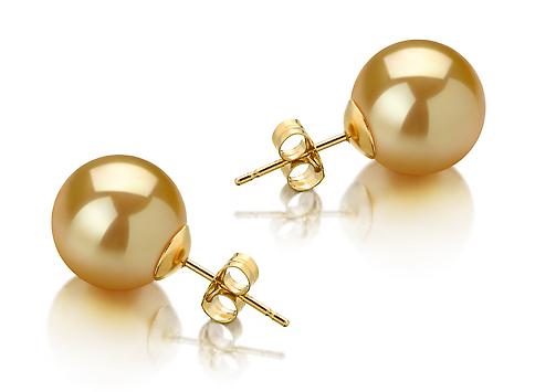 Пусеты на золоте с золотистыми морскими Австралийскими жемчужинами 12,6-12,9 мм