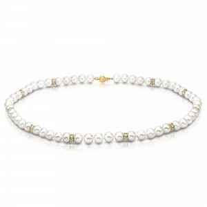Ожерелье из белого речного жемчуга со стразами. Жемчужины 7-7,5 мм