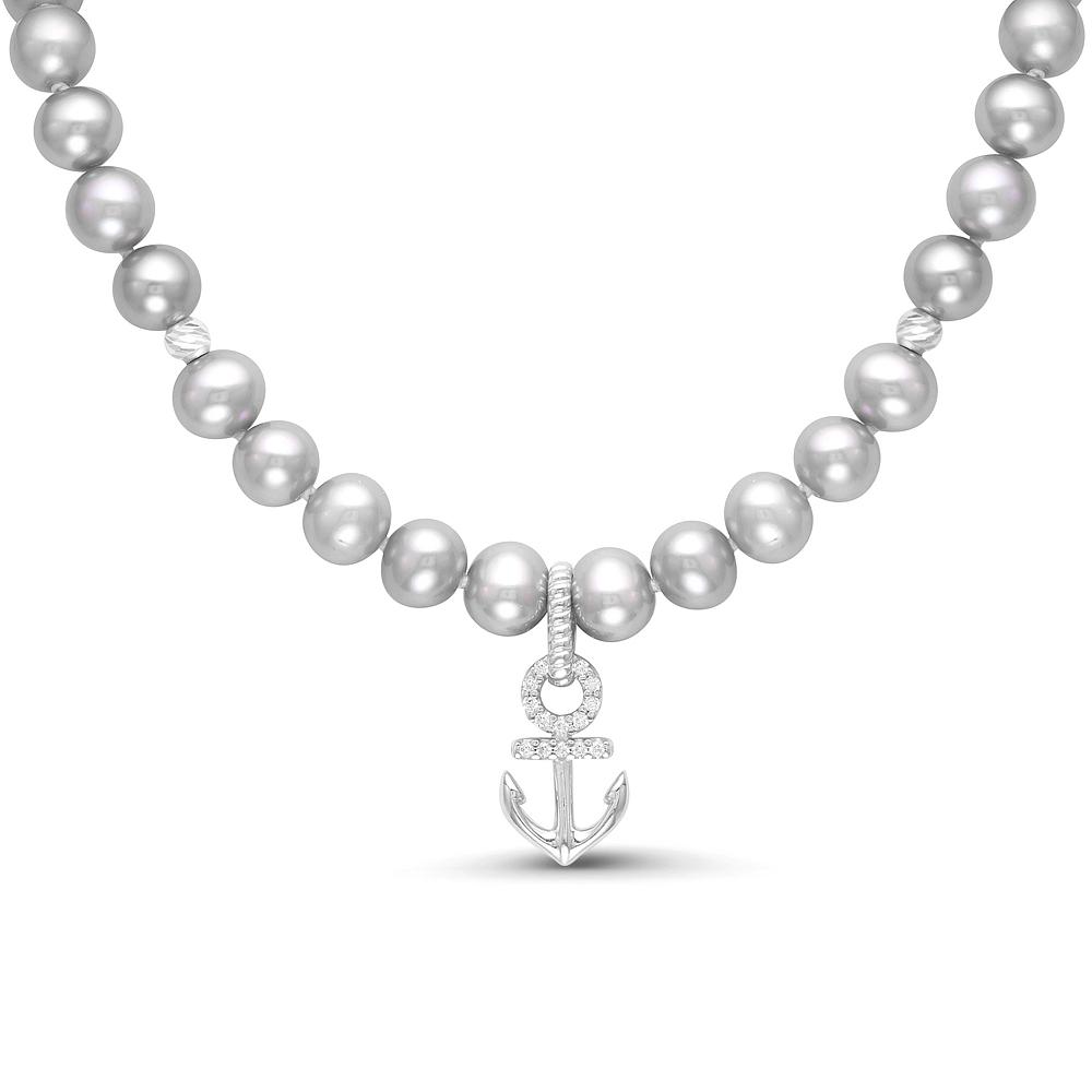 Детское ожерелье с кулоном. Серый жемчуг размером 5,5-6 мм