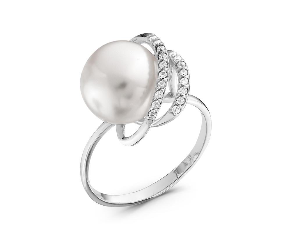 Кольцо из серебра с белой речной жемчужиной 10-10,5 мм