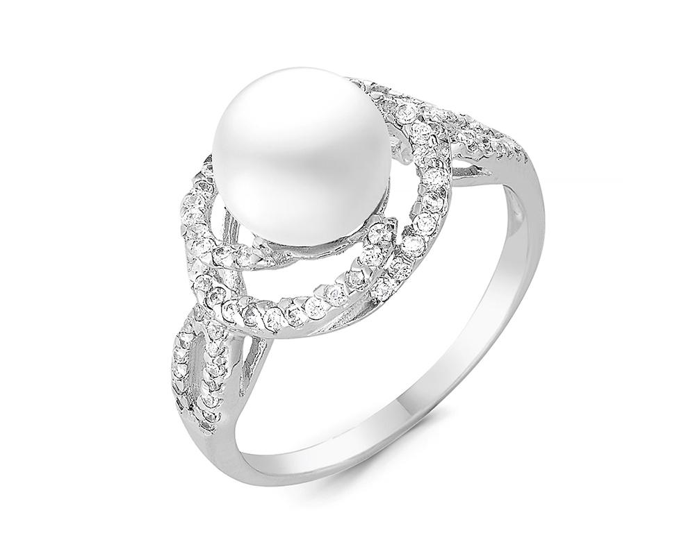 Кольцо из серебра с белой речной жемчужиной 7,5-8,5 мм