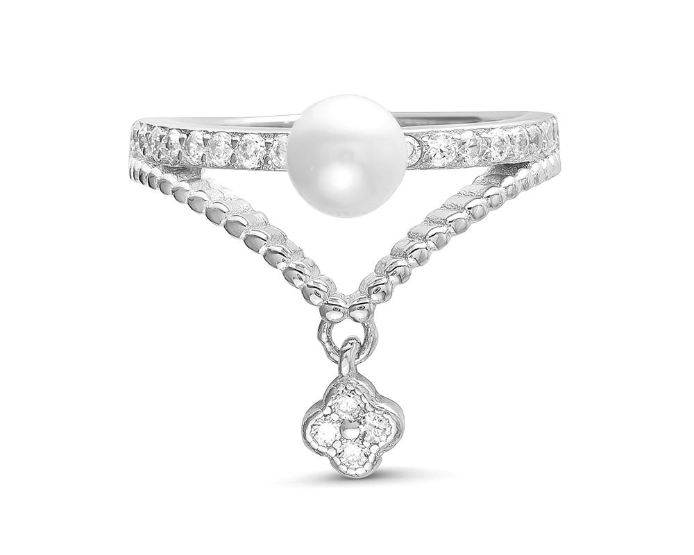 Кольцо из серебра с белой речной жемчужиной 5 мм