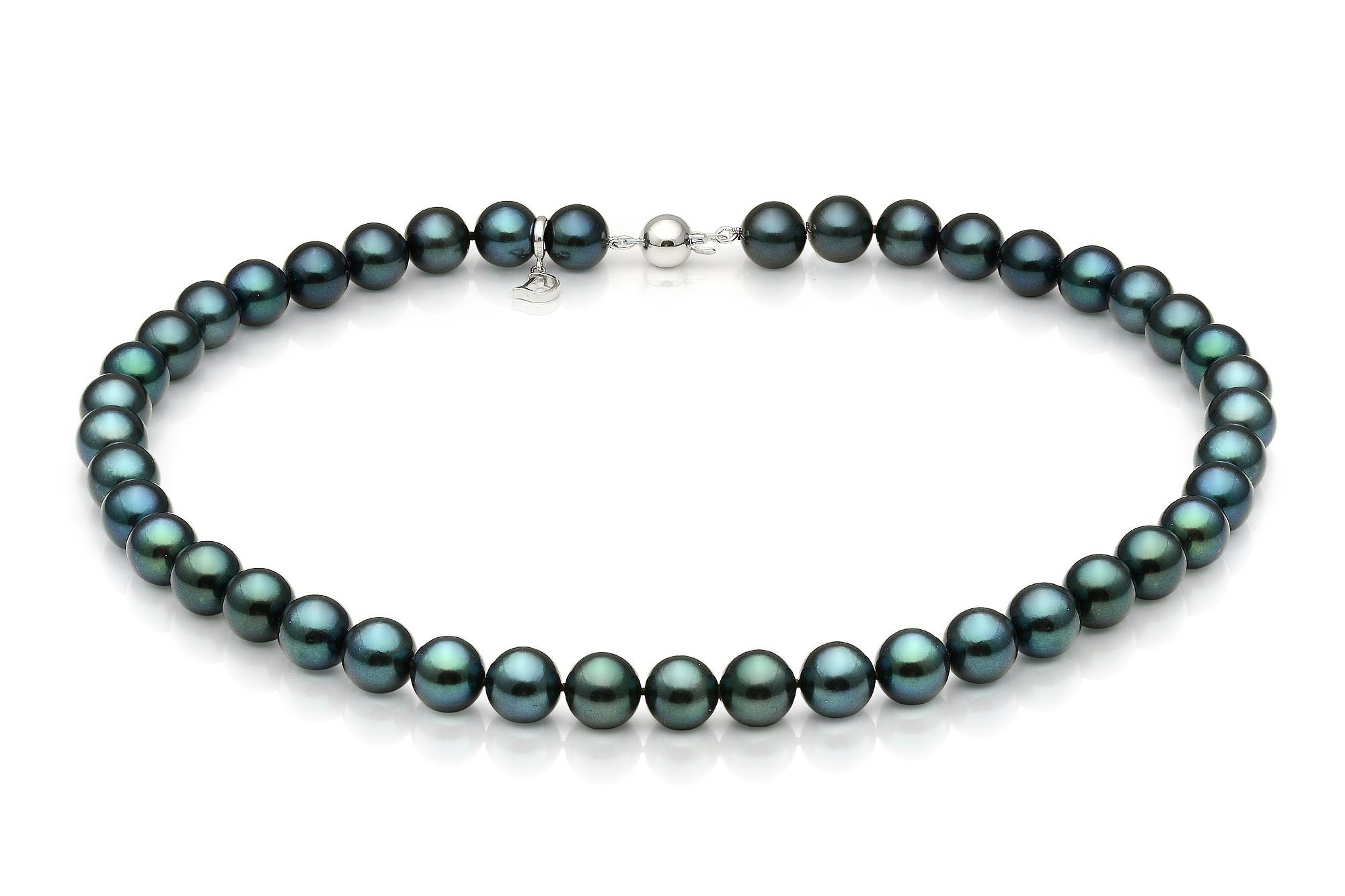 Ожерелье из черного круглого морского жемчуга Акойя (Япония). Жемчужины 7-7,5 мм