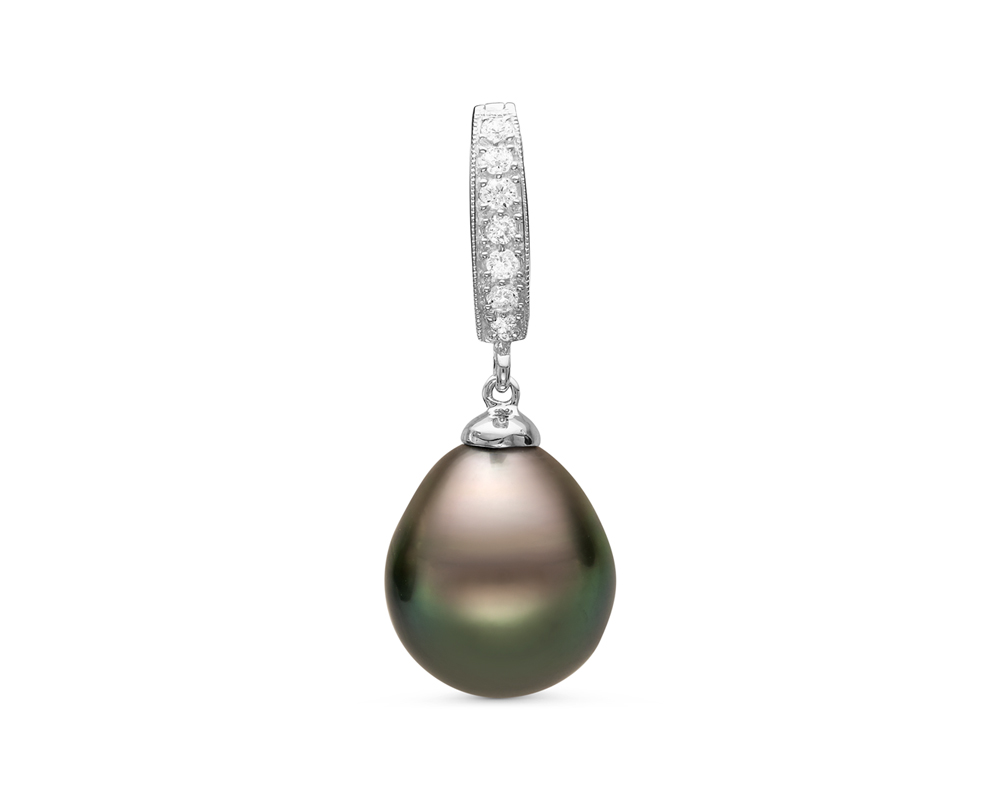 Кулон из серебра с черной морской Таитянской жемчужиной
