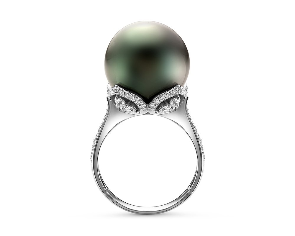 Кольцо из серебра с черной морской Таитянской жемчужиной 14-16 мм