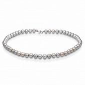 Ожерелье из серого круглого речного жемчуга. Жемчужины 8-8,5 мм