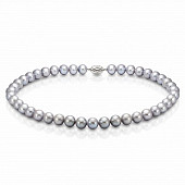 Ожерелье из серебристого круглого речного жемчуга. Жемчужины 8,5-9,5 мм