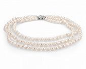 Ожерелье 3-рядное из белого рисообразного речного жемчуга. Жемчужины 7,5-8 мм