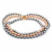 """Ожерелье 3-рядное """"микс"""" из рисообразного речного жемчуга 10-11 мм"""