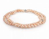 Ожерелье 3-рядное из розового рисообразного жемчуга. Жемчужины 6-11 мм