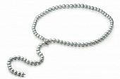 """Ожерелье """"галстук"""" из серого круглого речного жемчуга. Жемчужины 9-10 мм"""
