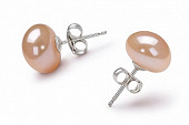Пусеты на серебре с персиковой речной жемчужиной 10,5-11 мм