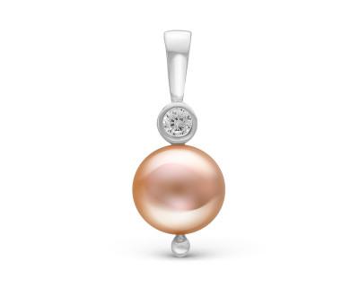 Кулон из серебра с розовой круглой речной жемчужиной 9-10 мм
